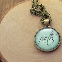 Faith Necklace, Word Jewelry, Inspirational Charm, Pale Blue Pendant, Your Choice of Finish (1140)