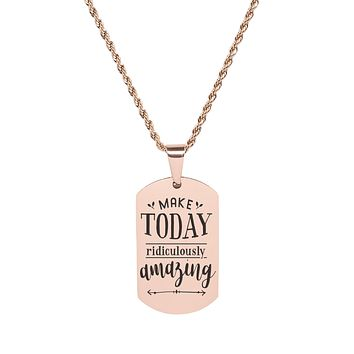 Solid Stainless Steel Inspirational Tag Necklace in Rose Gold by Pink Box