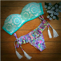 Lace Vintage Triangle Swimwear Bikini Bandeau Push Up Bra Swimsuit