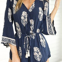 Blue Floral Flare Sleeve Romper