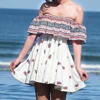 Fashion Casual Off Shoulder Multicolor Print Frills Strapless Mini Dress