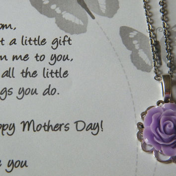 Mothers Day Necklace, Rose Pendant Chain, Mothers Day Gift, Rose Filigree Necklace Lavender, Personalized Gift For Mom