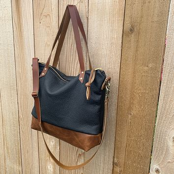 The Mercer Tote + Crossbody in Two Tone Leather