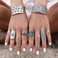 9pcs  Bohemia Turquoise Rings Hot Sale Retro Carving Arrow  Moon Pattern Sunflower Arrow shape Classic boho for women jewelry