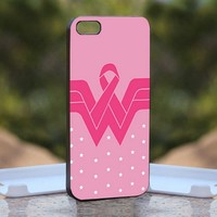 Wonder Woman Inspired Pink, Print on Hard Cover iPhone 4/4S Black Case