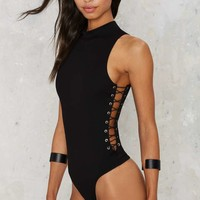 Nasty Gal On the Side Lace-Up Bodysuit - Black