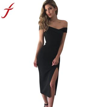Women Off Shoulder Boat Neck Sleeveless Slim Cocktail Party Dress