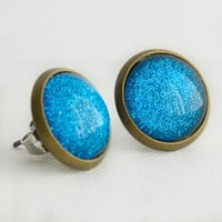 Sapphire Sparkle Earrings in Antique Bronze - Glittery Blue Stud Earrings
