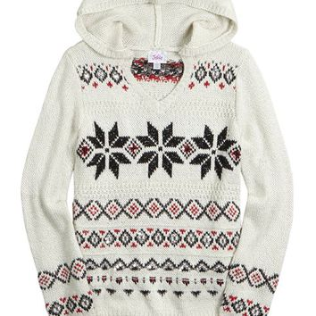 FAIR ISLE HOODED SWEATER   GIRLS CLOTHES NEW ARRIVALS   SHOP JUSTICE