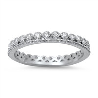 925 Sterling Silver CZ Crown Pattern Eternity Ring 3MM