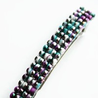 Purple, Green, White, and Silver Beaded French Barrette, 80mm