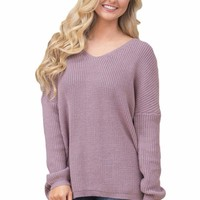 Violet Lace up Back Womens Sweater