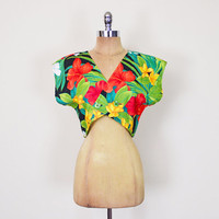 Vintage 80s Hawaii Shirt Tropical Floral Print Crop Top Slouchy Oversize Dolman Sleeve Top Batwing Sleeve Blouse Women S Small M Medium