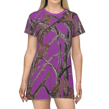 Purple Hunting Camouflage All Over Print T Shirt Dress