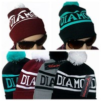 Diamond Supply Co Beanie Hat Popular Skullies Beanies Men And Women Winter Knit Letter Cap 4 Colors Gorras [2974244201]