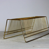 vintage wire record holder // retro wire rack // 45s and albums // wire letter holder
