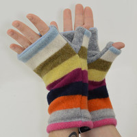 Fingerless Mitts in Crazy Stripes - Orange Yellow Brown Grey Wine Pink Blue - Recycled Wool - Fleece Lined