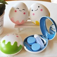 2015 New Cute Egg Design Travel Contact Lens Case Box Set Cleaning Holder Soak Storage  5549