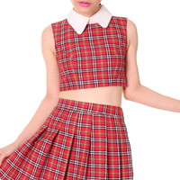 Glitters For Dinner — Made To Order - As IF Sleeveless Set in Red Tartan