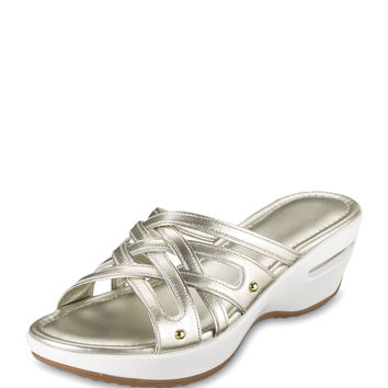 Air Ezra Strappy Wedge, White Gold - Cole Haan
