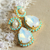 Crystal opal pearls earring - 14k plated gold  earrings real swarovski opal and  Turquoise rhinestones .