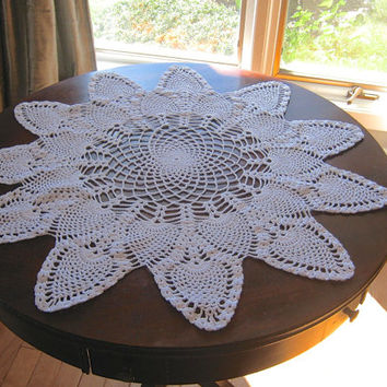 """Large Round Doily, Crocheted Doily, 26""""  Round Centerpiece, White Table Topper, Pineapple Pattern Doily, Crochet Tablecloth, White Linens"""