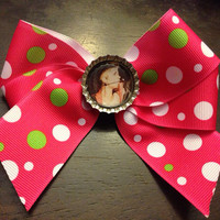 Justin Bieber Pink Green & White Hair Bow  by OhSoCr8tive on Etsy