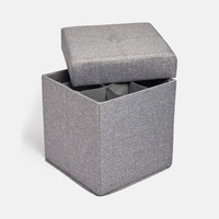 Collapsible Storage Cube Ottoman with Shoe Storage