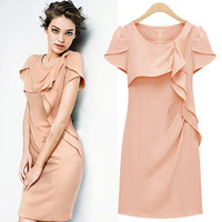 Pink Short-Sleeve Ruffled Dress