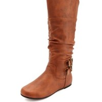 Slouch Buckle Flat Boot by Charlotte Russe - Cognac