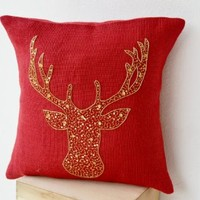 Amore Beaute Handcrafted Deer Pillow Cover - Animal Pillowcase in Red Burlap with Stag Embroidered in Gold Sequin -Burlap Pillow Covers - Gold Deer Pillow Covers - Gold Pillow Covers- Christmas Design Red Throw Pillow Covers - Decorative Cushion Covers - B