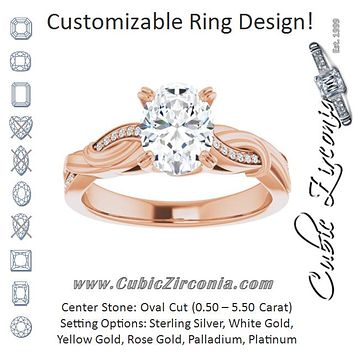 Cubic Zirconia Engagement Ring- The Fabiola (Customizable Cathedral-raised Oval Cut Design featuring Rope-Braided Half-Pavé Band)