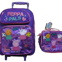 "Peppa Pig Purple 16"" Rolling Backpack + Peppa Pig Lunchbox Combo by Nick Jr.-New"