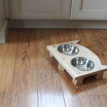 Owl Face Cat Feeding Station, Pet Bowl Holders Made with Vintage Components, Handmade Repurposed, Upcycled, Reclaimed