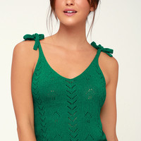 Boogie Down Green Knit Cropped Tank Top