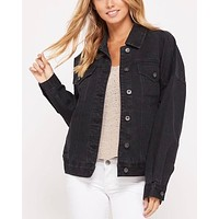Premium Wash Cotton Denim Jacket in Black