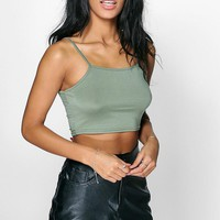 Cally Basic Spaghetti Strap Super Crop Top | Boohoo