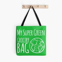 'MY SUPER GREEN GROCERY BAG' Tote Bag by Sarah Davies