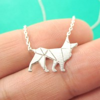 German Shepherd Dog Shaped Silhouette Charm Necklace in Silver | DOTOLY