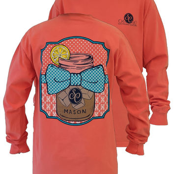 Southern Couture Preppy Sweet Tea Mason Jar Bow Comfort Colors Salmon Long Sleeve Girlie Bright T Shirt