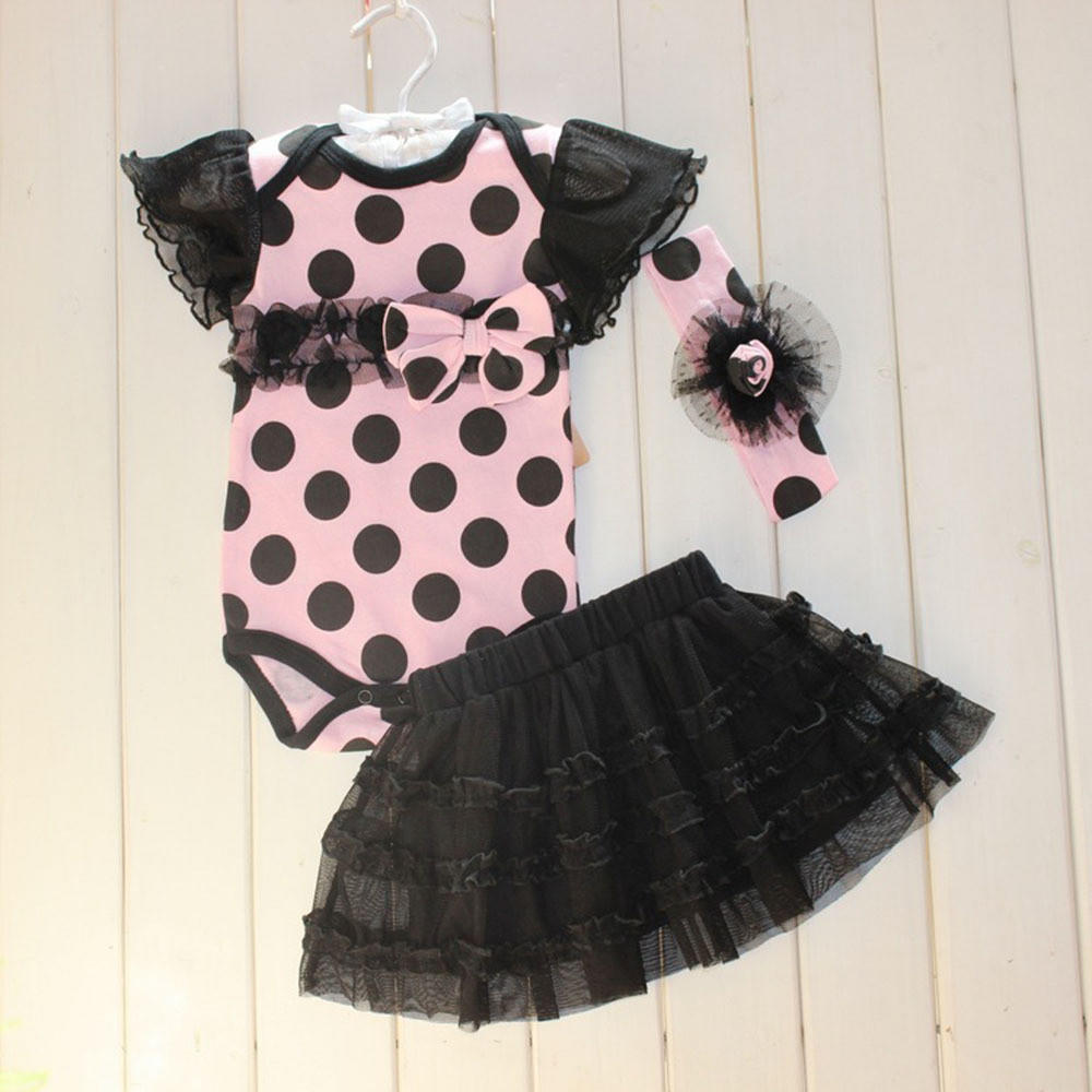 Image of born infant baby girl clothing polka dot headband romper tutu outfit clothes 3pcs sets TIML66