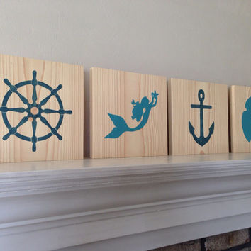 4 Customizable Nautical Signs, Stained and Hand Painted, nautical/ beach decor, birthday gift, home decor, vacation house, summer decor