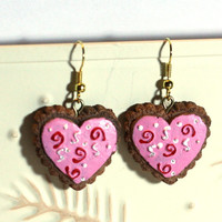 Valentine Heart Earrings - Repurposed Ornaments - Clay Earrings - Fashion Earrings - Cookie Themed Earrings - Pink Red White Heart