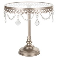 10 Inch Glass-Top Tall Metal Cake Stand with Crystals (Champagne)