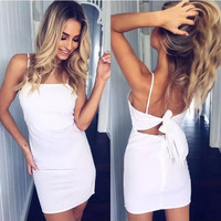 Fashion Solid Color Back Knotted Sleeveless Backless Strap Mini Dress