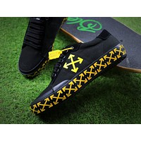 Off White Vulcanised Arrows Sneakers Black/Yellow Canvas Shoes