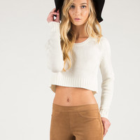 Cropped Knit Sweater - Ivory - Large