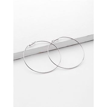 1pair Metallic Hoop Earrings