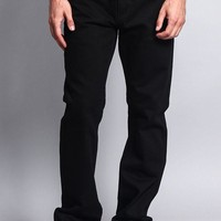 Men's Straight Fit Colored Denim Jeans (Jet Black)