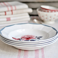 french vintage bowls with rose pattern - set of 4